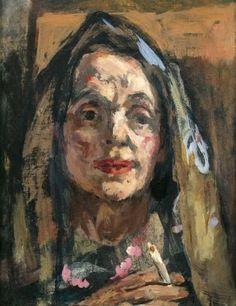Marie-Louise von Motesiczky - Portrait  einer alten Dame mit Cigarette