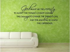 Vinyl Wall Decal......Serenity Prayer..... 10.5h x 22.5w - God Faith Religious Scripture Jesus. $16.50, via Etsy.