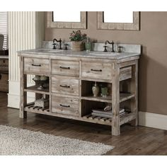 Infurniture Rustic Style Double Sink Bathroom Vanity Carrara White Marble Top Vanity, no faucet), Size Double Vanities Bathrooms 36 Inch Bathroom Vanity, Rustic Bathroom Vanities, Single Sink Bathroom Vanity, Rustic Bathrooms, Single Vanities, Rustic Vanity, Bathroom Cabinets, Modern Bathroom, Bathroom Shelves