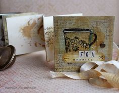 Tea stories mini album by Riikka Kovasin for Mixed Media Place Lost & Found, Mini Books, Mini Albums, Mixed Media, Sunny Sunday, Dots, Paper Crafts, Place Card Holders, Scrapbook
