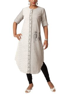 Smart Ikat Kurta with Bird Embroidery Tunic by Myoho. Available to shop at strandofsilk.com