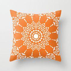 Geometric Mandala Pillow Cover  Tangerine Orange   by AldariHome, $35.00