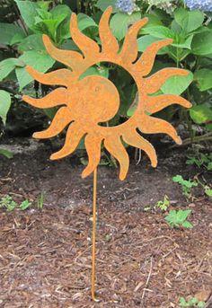 Rustic Sun Moon Garden Stake