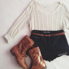 Cute Outfit. High waist shorts. Boots. White light cable knit sweater. Add some red or burgundy lippie.