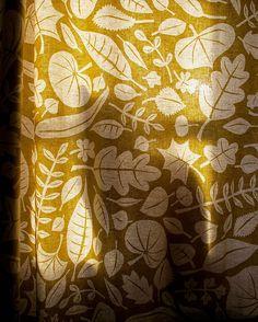 leaves, pattern, print, lino, printmaking, fabric, curtain, nature