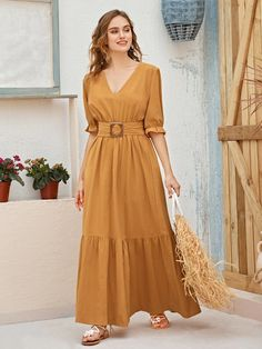 Yellow Boho Half Sleeve Cotton Plain A Line Non-stretch Spring/Summer Dresses, size features are:Bust: ,Length: ,Sleeve Length:Half Sleeve Stylish Dresses, Nice Dresses, Casual Dresses, Summer Dresses, Indian Fashion Dresses, Fashion Outfits, Modest Outfits, Dress Outfits, Girls Dresses Sewing