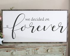 We Decided On Forever Framed Wood Sign, Love Decor, Wedding Gift Bedroom Wall Art, Farmhouse Decor, Large Wood Sign Saying, Couples Sign, Beautiful Rustic Bedroom Decor | Farmhouse Bedroom | Farmhouse Decor | Bedroom Design Ideas | Bedroom Decor | Fixer Upper Style | Joanna Gaines | Farmhouse Style | Farmhouse Sign | Wood Sign | Rustic Sign | Shiplap | Rustic Home Decor, living room, dining room, family room, kitchen, bedroom, rustic home decor, diy decor, signs, farmhouse #afflink