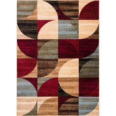 Well Woven Geometric Patchwork Modern Shapes Ivory,, Red, Blue, and Brown Area Rug