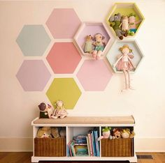Honeycomb wall design. So cute for a kid's room