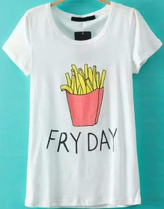 FRY DAY Fries Printed White T-Shirt