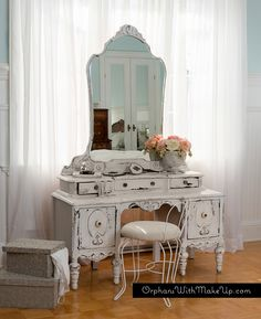 "Orphans With MakeUp - ANTIQUE VANITY - ""Chippy Goodness"" achieved with Homestead House Milk Paint in ""Sturbridge White""."