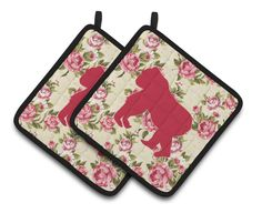 Gorilla Shabby Chic Yellow Roses Pair of Pot Holders BB1129-RS-YW-PTHD