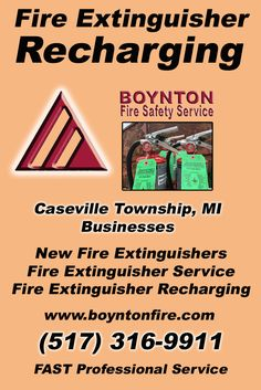 Fire Extinguisher Recharging Caseville Township, MI (517) 316-9911  We're Boynton Fire Safety Service.. The Main Source for Fire Protection for Michigan Businesses. Call Today!  We would love to hear from you.