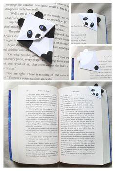 Marque page panda origami Diy Origami, Origami Tutorial, Origami Paper, Origami Hand, Simple Origami, Diy Bookmarks, Corner Bookmarks, Bookmark Ideas, Origami Bookmark Corner