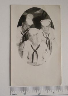 RPPC Postcard Sailors USS Salem CA 139 Navy Cruiser Postmark Sep 1949