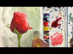 How to Paint a Red Rose bud Watercolor flower painting by Yong Chen - Drawing Technique