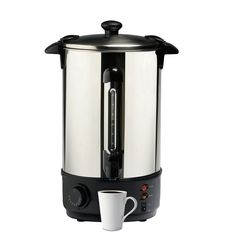 This high-capacity, 2000 Watt water urn can hold 10 litres of water, with a stylish, stainless steel lid and body. The urn's convenient water gauge lets you know when it's time to refill, or when you've got the perfect amount brewing for a warm-bellied evening.