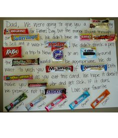 Last minute gift for dad: Candy Bar Letter - this would be great for my chocoholic H :)