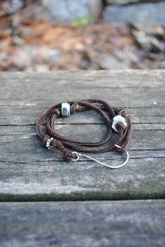 Brown Leather Fish Hook Wrap Around Bracelet by LittleBoxofJules.. want one! or wanna make one :)