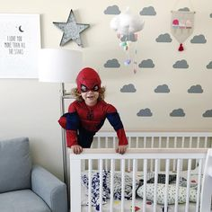 @babyletto on Instagram: 🕷 rare mini spider-man sighting 🎃 #happyhalloween • #babyletto Scoot crib & Bento swivel glider • 📷: designed by mama @eliyonas ❤️