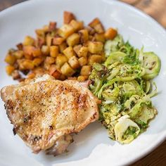 Breakfast finished product: Adobo Chicken Thighs White Sweet Potatoes with our Meat & Potatoes Seasoning and Adobo Brussels Sprouts... All using our new line of organic spices!  Learn more: http://ift.tt/1EgeUtc  #primalpalatespices