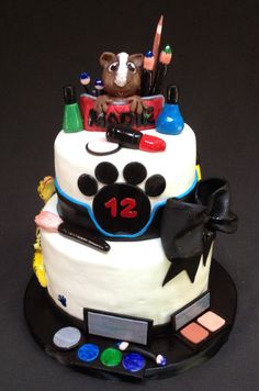 Pets in the Make-up Cake This cake was made for a young lady, who loves her pets and her make-up.
