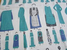 Vintage Tea Towel Too Many Cooks RARE. $109.00, via Etsy.  Lucienne Day - Queen of print!