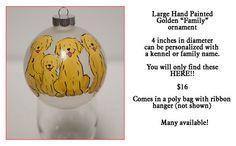 Golden Retriever Family Glass ornament 4 inch by JennysDogArt, $16.00