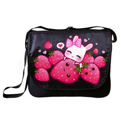 Bunny and strawberries Messenger Bag - ChibiBunny