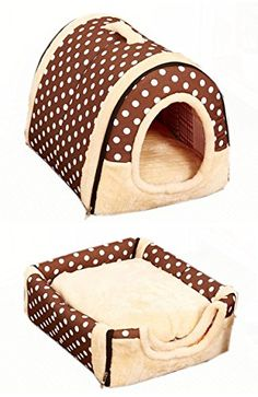 Pet Dog Cat Foldable Soft House Removable Pet Bed Dog Bed With Mat Travel Dog Bed Pet Bag (Polka Dotted Brown, M) -- Read more reviews of the product by visiting the link on the image.
