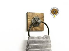 Unique, simple and attractive...Give your bathroom, kitchen, laundry room an elegant update with our beautiful handmade towel ring. The neat combination of pipe, zinc ring and wood will make everyone stop, stare and wonder! Add a matching floating shelf for more storage: Towel Rack Bathroom, Bathroom Sets, Bathroom Designs, Gold Bathroom, 1930s Bathroom, Kmart Bathroom, Paris Bathroom, Zen Bathroom, Basement Bathroom