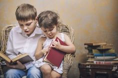 Books can be a great bonding opportunity between big brother and little sister… Little Books, Good Books, Older Siblings, Sister Photos, Father And Son, Quotes For Kids, Little Sisters, Women Empowerment, Book Worms