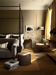 Soothing Bedroom....www.dearthdesign.com. Love the greige paint color!
