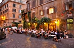 Sunset in Rome cafe