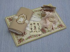 Gaël Miniature shabby chic  Bolts of cloth plus SEWING ACCESSORIES    ♡ ♡