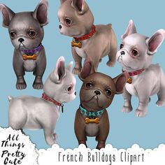Cute French Bulldogs Clipart set, commercial use approved clipart, French bulldogs art, bulldogs planner sticker, dog clipart, dog printable