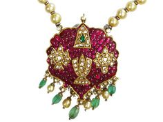 Lord Venkateswara (with shanku chakra) pendant studded with natural rubies, uncut diamonds, emeralds and pearls, from Karni Jewellers. Jewelry Design Earrings, Ruby Jewelry, India Jewelry, Temple Jewellery, Pendant Jewelry, Bridal Jewelry, Gold Jewelry, Jewellery Designs, Jewelry Bracelets