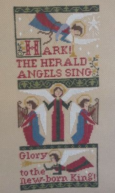 completed cross stitch Prairie Schooler Christmas Angels Sampler