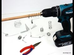 http://www.jax-design.net Easy way to make springs using a cordless drill, wood dowels and wire.