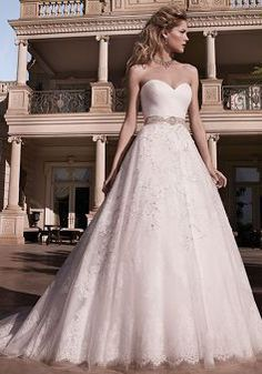 A line Sweetheart Cathedral Train With Appliques Tulle Elegant Wedding Dresses - 1300103151B - US$239.99 - BellasDress