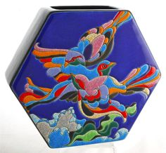 Longwy Pottery Enamelled Hexagonal Vase with Bird of ParadiseDecoration. 23cm