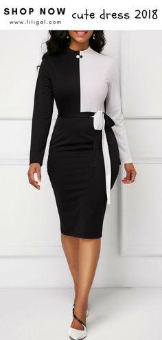 Bowknot Detail Long Sleeve Back Slit Sheath Dress Elegant Dresses, Sexy Dresses, Casual Dresses, Fashion Dresses, Dresses For Work, Classy Dress, Classy Outfits, Black Women Fashion, Womens Fashion