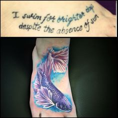 Beta fish cover up tattoo by Copper Top Tattoos