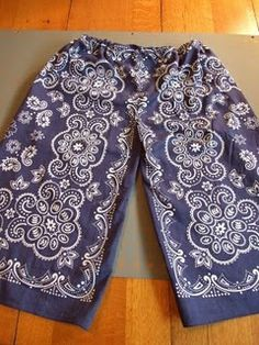 Bandana pants -- quick and easy sewing project using two bandanas to make a comfy pair of pants.  Fun and airy for wee ones come summer!