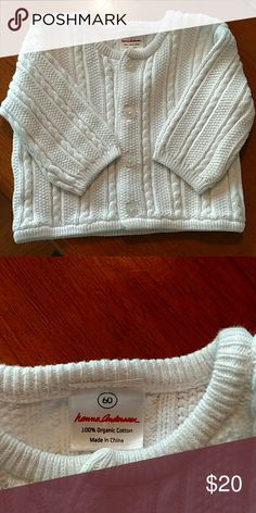 Hanna Andersson Cardigan White cable knit cardigan. Size 60 (3-6 months). 100% organic cotton. Worn once. Hanna Andersson Shirts & Tops Sweaters
