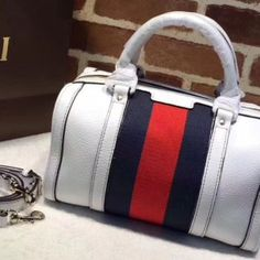 9d414452dcd Replica Gucci 269876 Vintage Leather Boston Bags White