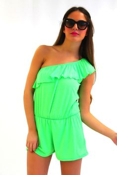 Mixology Neon Romper in Green
