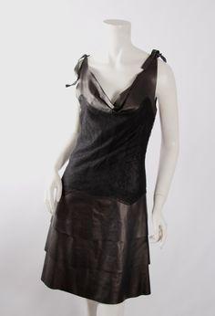 VALENTINO Black Leather & Lace Dress Sz4 NWT