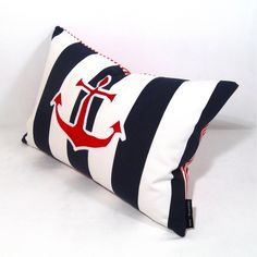 Use the mini stripes at Beyond Fabric and do a red applique anchor. Nautical Pillow Covers, Nautical Pillows, Nautical Bedroom, Nautical Home, Nautical Anchor, Anchor Pillow, Nautical Fashion, Pillow Talk, Beach House Decor