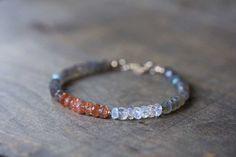 Labradorite, Rainbow Moonstone & Sunstone Bracelet, Labradorite Bracelet, Labradorite Jewelry, Gemstone Stacking Bracelet, Moonstone Jewelry